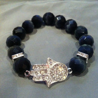 Crystal Sideways Hamsa Hand of Fatima Charm Bracelet with Black Faceted Beads