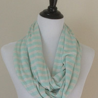Mint green Infinity scarf, mint green and oatmeal Infinity scarf, infinity scarf, monogrammed gift