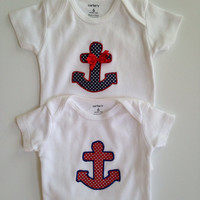 anchor Onesuit set - patriotic Onesuits for twins - nautical Onesuits - sailor bodysuit - boy girl Onesuit - boy girl twin outfits -
