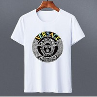 Versace New fashion bust letter human head print couple top t-shirt White