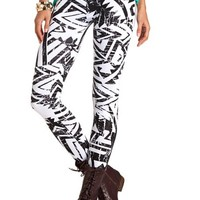 CRACKLED PRINT COTTON LEGGING