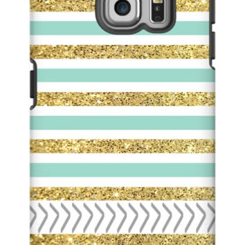 Gold and Tiffany Personalized Galaxy S6 Edge Extra Protective Bumper Case