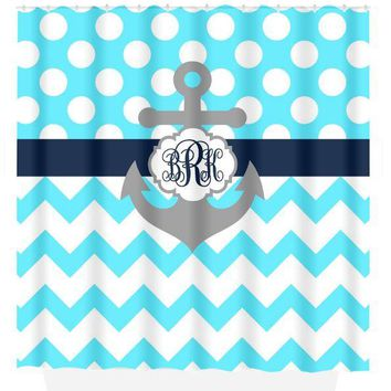 ANCHOR SHOWER CURTAIN Navy Blue Ocean Custom Monogram Personalized Nautical Bathroom Chevron Polka Dot Decor Bath Towel,  Bath Mat