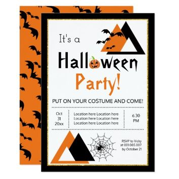 Modern triangles bats and spider web Halloween Card