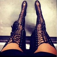 Sexy Black High Heels Gladiator Shoes Woman Peep Toe Lace Up Thigh High Boots Summer O
