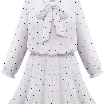 White Bow Collar Polka Dot Circular Flounce Sleeve Blouson Mini Skater Dress