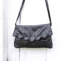 Vintage EEL Skin Black Clutch / Shoulder Bag Convertible Purse