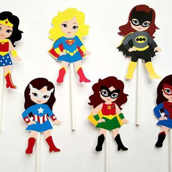 PEAPGB2 Girl Superhero  Cupcake Toppers   Birthday  Party Decorations Party Supplies Birthday Party Decorations Kids