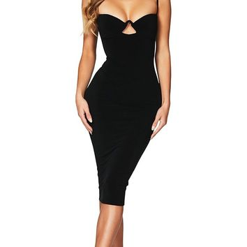 Deja Vu Black Sleeveless Spaghetti Strap Cut Out V Neck Bodycon Bandage Midi Dress