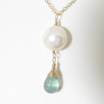Coin pearl pendant necklace with rare blue paraiba fluorite teardrop briolette