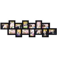 Adeco Black Wood 14 Openings Wall Collage Picture Frame, 4 x 6-Inch