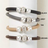 Simply Chic Band Bracelet with Pearl Gemstone Bead and Magnetic Closure