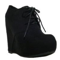 Get Women's Qupid Black Suede Lace Up High Heels Wedge Bootie (Worthy92A) at Best Buy Shop