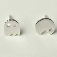 925 sterling silver jewelry, PACMAN pac-man ghosts stud earrings, simple asymmetric smooth earrings for men and women