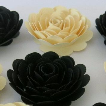 "classic Black and Ivory roses, 6 piece set, 3"" paper flowers, backyard Wedding floral table decor, mother of the bride gift idea, stylish bridal shower"