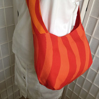 Marimekko hobo slouch bag, pumpkin orange geometric cotton fabric bold pattern shoulder bag, 100% cotton crossbody bag inside pockets