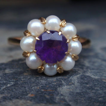 Amethyst & Pearl 14k Ring June February birthstone size 8 engagement cocktail yellow gold English 1960s purple 10% OFF coupon in item detail