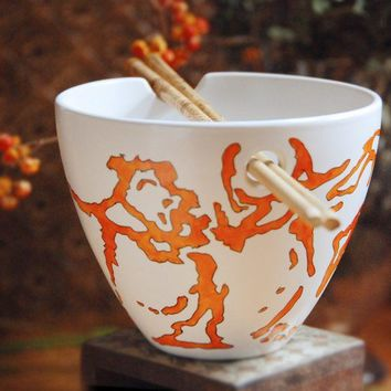Chopsticks Noodle Bowl  Red Dragon Collection made to by yevgenia