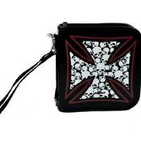 Skull Iron Cross CD / DVD / Disc Holder Wallet Case Holds 24 Discs