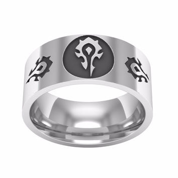 Film industry alliance WOW World of Warcraft game logo male ring jewelry stainless steel men's jewelry tribal souvenirs