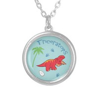 Cute Triceratops Round Pendant Necklace