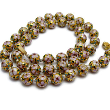 Vintage Cloisonne Bead Necklace Chinese Export Enamel Gold Vintage Jewelry Beaded Necklace Estate Jewelry Art Deco Necklace Jewelry