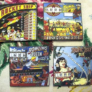 retro pinball coasters vintage 1950's pinball machine backglass rockabilly kitsch