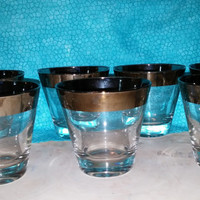 7 Vintage Dorothy Thorpe Mad Men Era Type Retro Platinum Band Whiskey / Cocktail Glasses from 1950-60's.