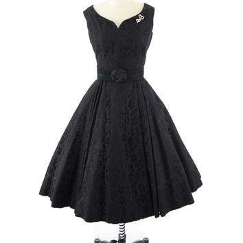 50s Black Lace and Taffeta Full Skirt Party Dress-S