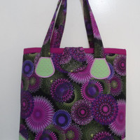 Tote Bag - Handmade Tote Bag - Purple circles Tote Bag - Tote Bag - Embroidered - Handbag Tote Bag - Market Tote Bag