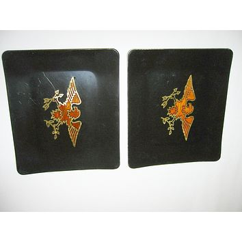 California Couroc Gift Ware Golden Terracotta Eagle Black Lacquered Trays