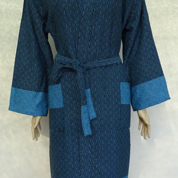 Turquoise and black colour soft cotton Turkish bathrobe with hood, dressing gown.