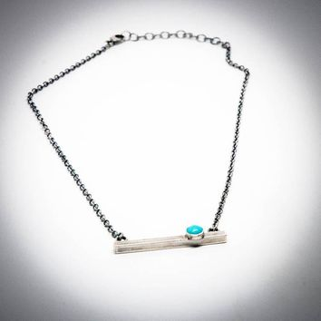 Sterling Silver Bar Necklace Antique Finish