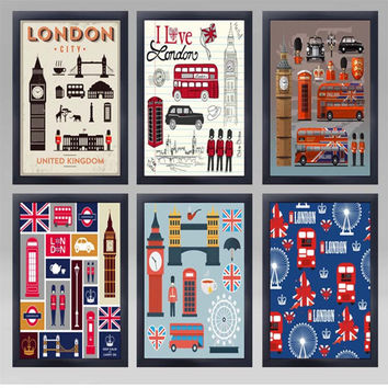I Love London 50 Shades of Iconic UK Theme Vintage Wall Display Retro Pop Art Posters for Cafe Restaurant Bistro DIY Home Decor SOHO Office Retail Store Owners Interior Design Framed Canvas Print Painting