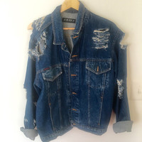 Hand distressed Oversized Denim Jacket