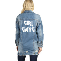 Girl Gang Rock and Roll Long Distressed Denim Jacket