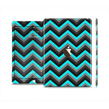 The Turquoise-Black-Gray Chevron Pattern Skin Set for the Apple iPad Air 2