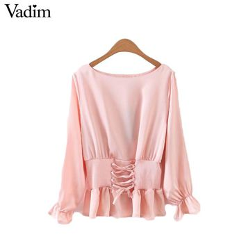 Women sweet ruffles lace up shirts elastic waist long sleeve o neck blouse solid ladies fashion tops