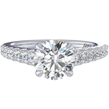 Fana Tapered Prong Set Side Diamond Engagement Ring