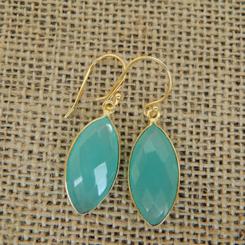 Aqua blue chalcedony earrings, vermeil, dangle earrings, oval, beach chic, bohemian style, ocean inspired