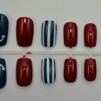 "Artificial Nails - ""Way Overboard"" -  Nautical Nails, Dark Teal, Red,& White, Hand Painted, Fake Nails"