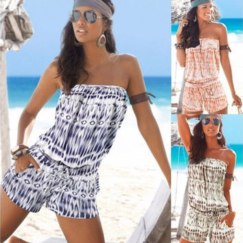 3 Colors Women Geometric Printing Bra-style Playsuits Casual Loose Sleeveless Backless Strapless Beach Rompers [8805120519]