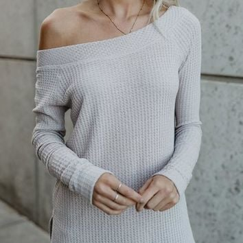 White Off-shoulder Boat Neck Long Sleeve Loose Pullover Sweater