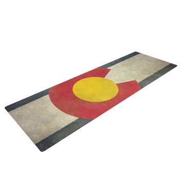 "Bruce Stanfield ""State Flag of Colorado"" Black Red Yoga Mat"