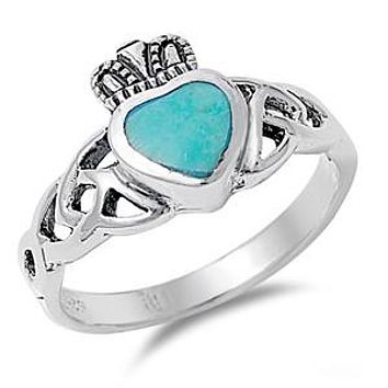 Claddagh Turquoise Heart Ring
