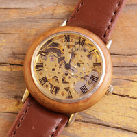 Vintage Skeleton watch wooden bezel mens watch