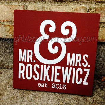 Mr. and Mrs. Ampersand Wooden Sign - wedding, anniversary, personalized wood
