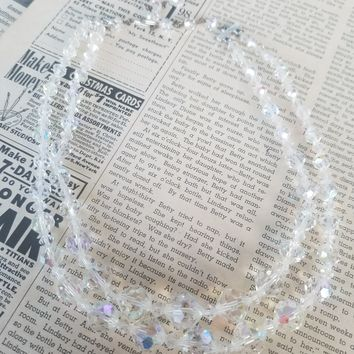 Double strand clear faceted Aurora Borealis Austrian crystal vintage necklace