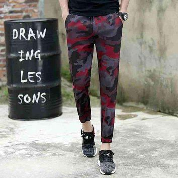 1724ankle length military pencil pants joggers high street trousers camouflage pants track pants slim sweat pants