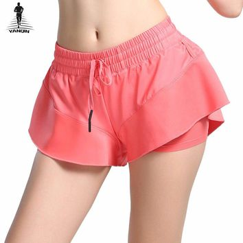 YANQIN Yoga Shorts Women Sport Shorts Fitness Crop Elastic High Waist Quick Dry Gym Ruffled Solid Sexy Cool Breathable Shorts